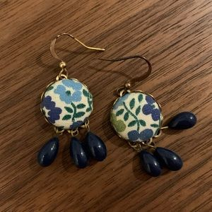 Handmade floral fabric navy drop earrings